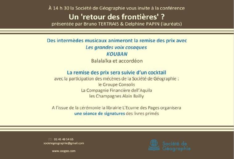 Le 1er décembre 2017 Séance solennelle de Remise des Prix 2017 à la Société de Géographie