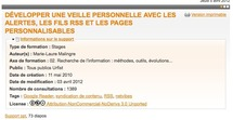 Dvelopper une veille personnelle avec les alertes, les fils RSS et les pages personnalisables