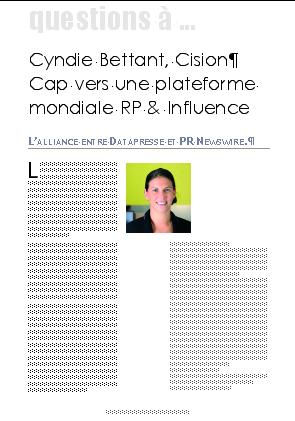 Cyndie Bettant, Cision Cap vers une plateforme mondiale RP & Influence. L'alliance entre Datapresse et PR Newswire.