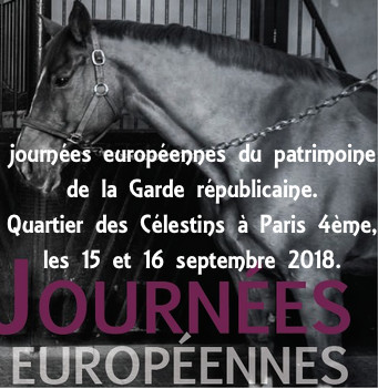 Journées européennes du patrimoine de la Garde républicaine. Quartier des Célestins à Paris 4ème,  les 15 et 16 septembre 2018.