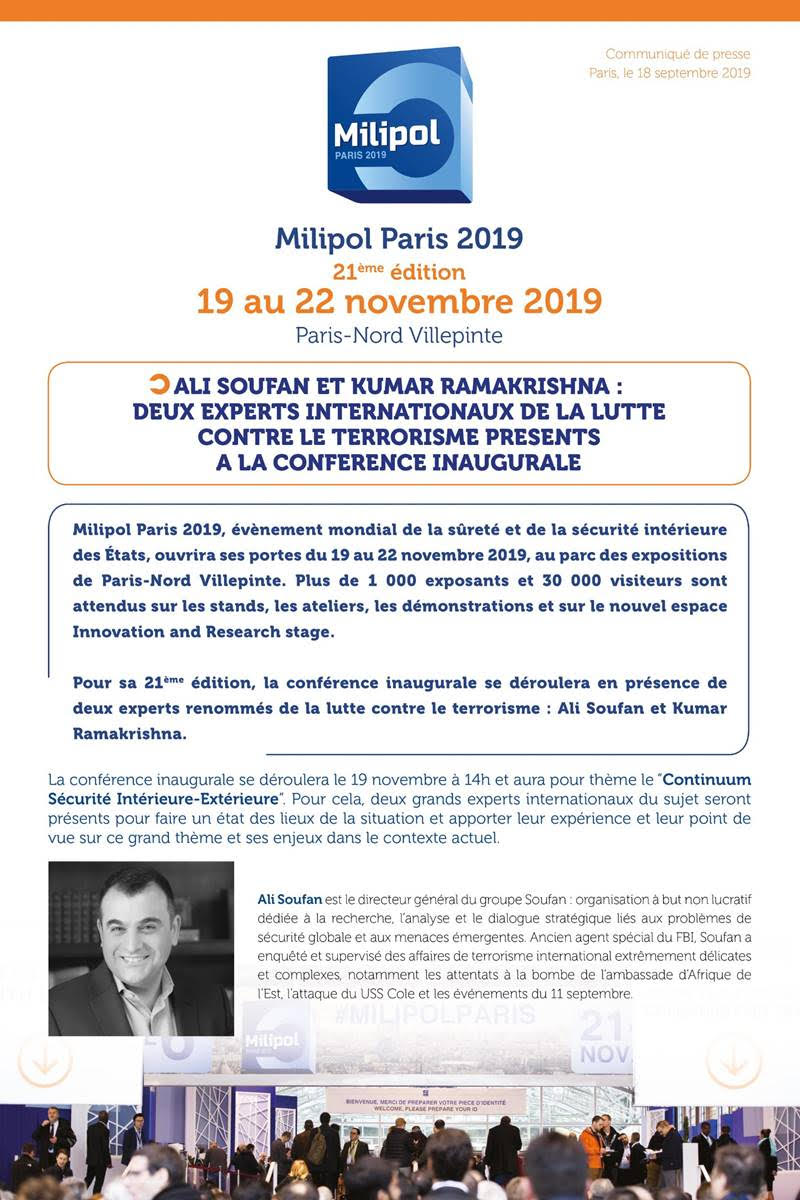 Milipol Paris 2019 : deux experts de la lutte contre le terrorisme à la conférence inaugurale