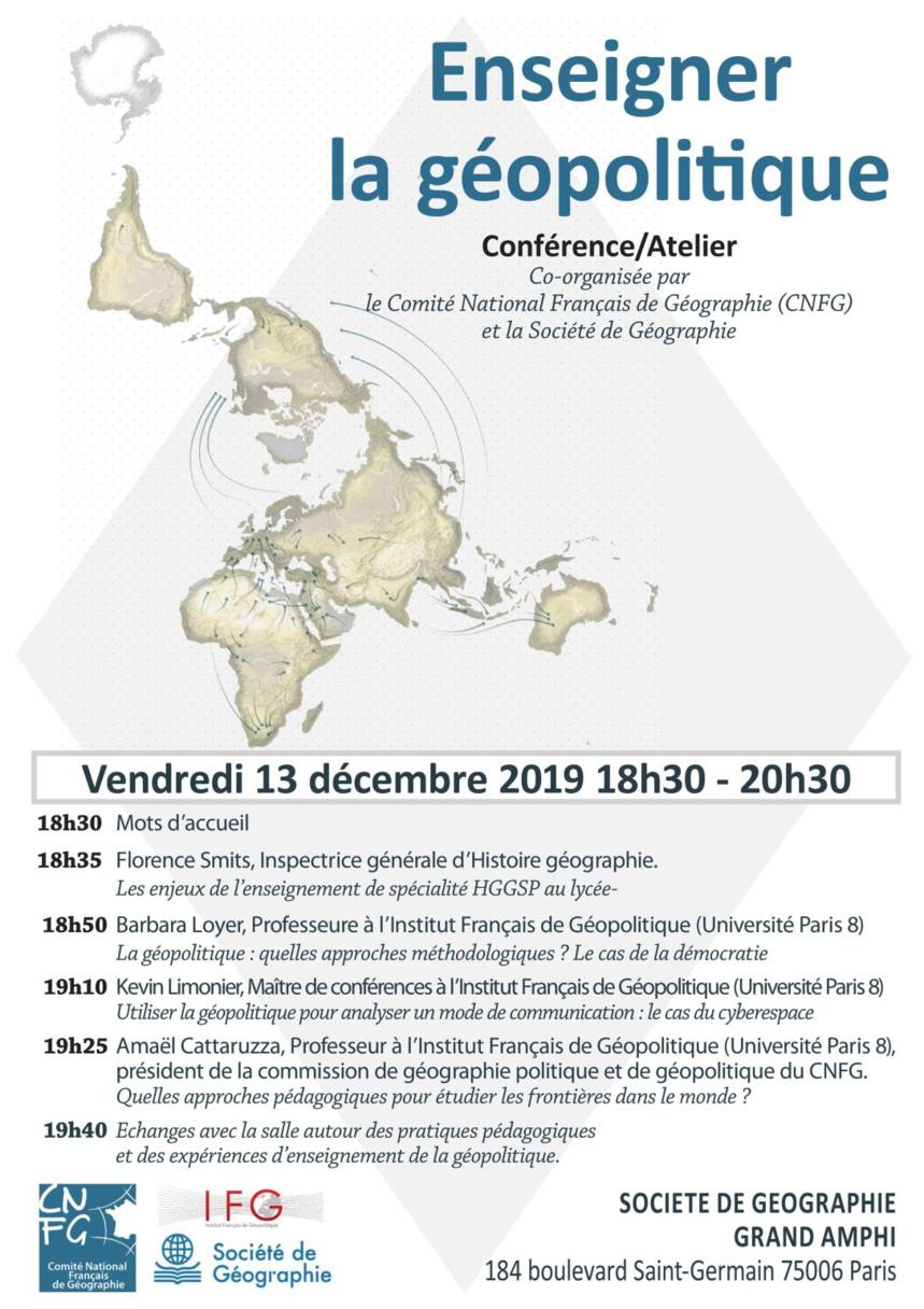 """Agenda : 13 décembre 2019 Conférence/Atelier """"Enseigner la géopolitique"""""""