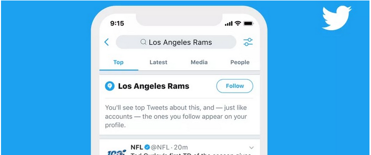 Twitter permet de suivre des thématiques, en plus des profils